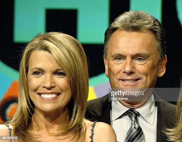Wheel of Fortune hosts Vanna White and Pat Sajak pose for pictures after taping a episode of the game show at Navy Pier on March 7 2008 in Chicago