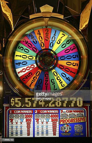 Wheel of Fortune slot machine displays a mega jackpot win of more than 55 million USD at Caesars Palace December 28 2006 in Las Vegas Nevada Joe...