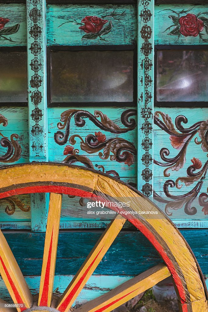 Wheel Of Gypsy Caravan Outdoors : Stock Photo