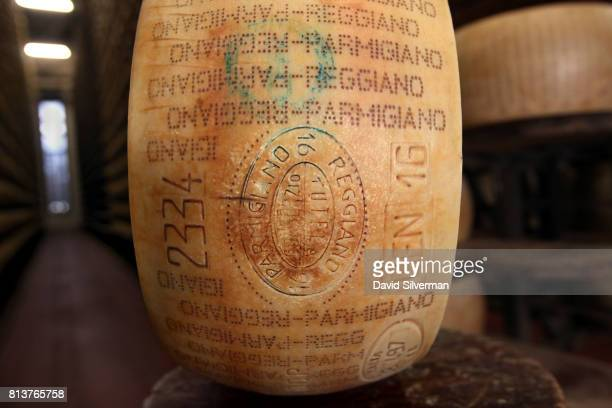 A wheel of ParmigianoReggiano cheese made in January 2016 is seen during inspection at Caseificio Censi the Censi family dairy on March 26 2017 in...
