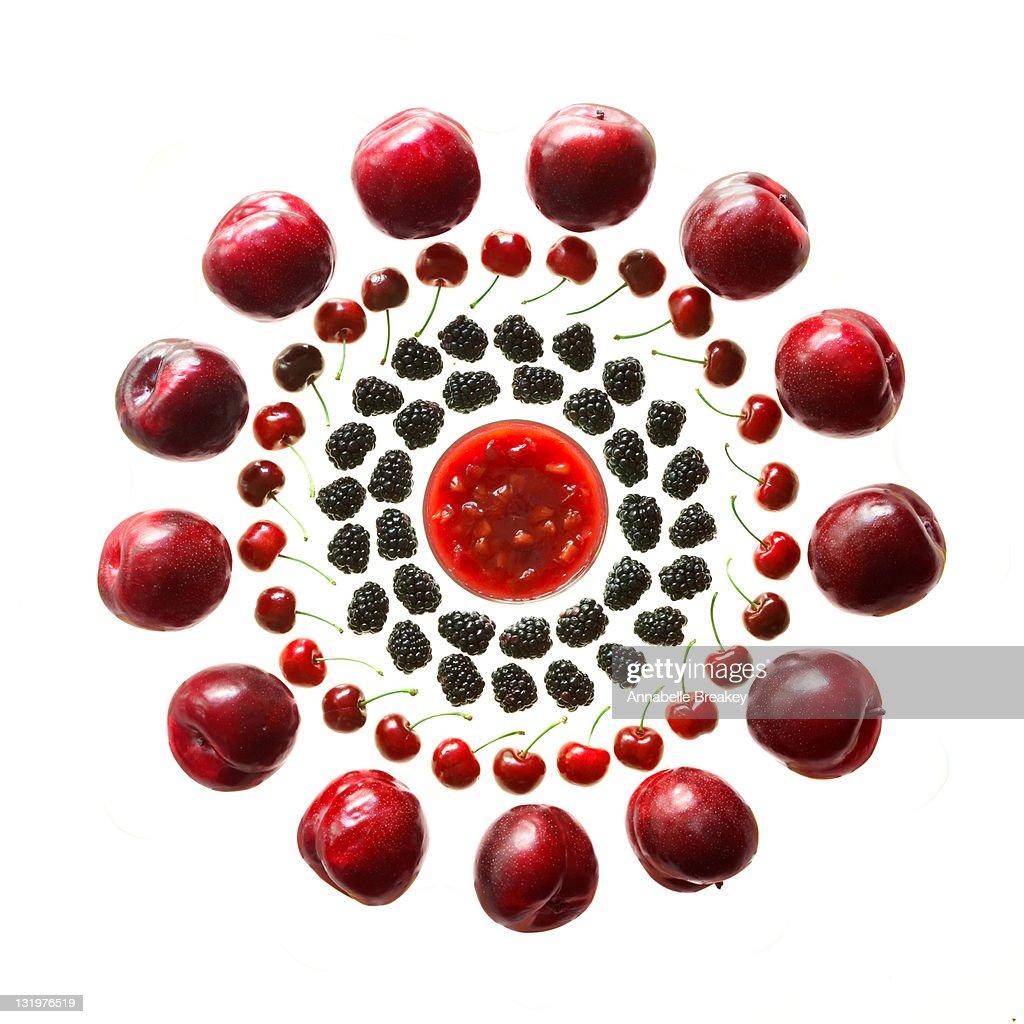 Wheel of Plums, Cherries, and Blackberries : Stock Photo