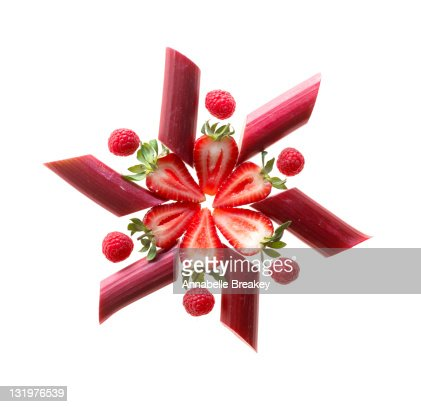 Wheel of Rhubarb, Strawberries and Raspberries : Stock Photo