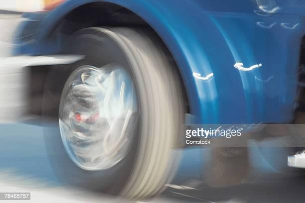 Wheel of semi truck in motion