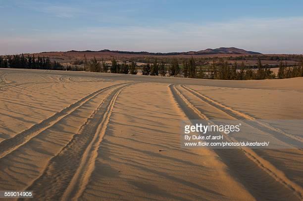 Wheel Tracks on White Sand Dune : Mui Ne