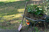 Wheelbarrow filled with leaves and branches with a fanned spade after gardening in spring, gardening