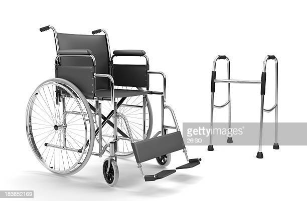 Wheelchair and Walker on White Background (XXXL)