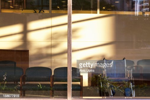 Wheelchair at waiting are a window : Stock Photo