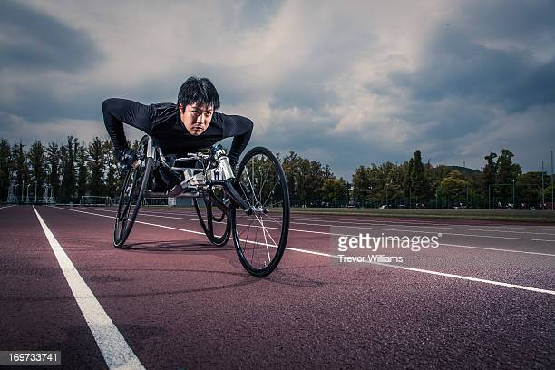 Wheelchair athlete racing
