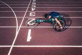 Wheelchair athlete racing