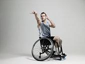 Wheelchair basketball player shooting