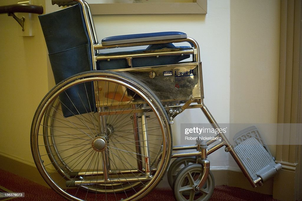 A wheelchair is left outside a residence at an assisted living facility November 10, 2012 in Connecticut.