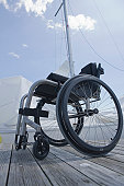 Wheelchair on a jetty