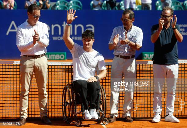 Wheelchair tennis player and former Paralympic flag bearer of Argentina Gustavo Fernandez salutes during the award ceremony after a final match...