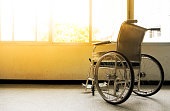 Wheelchairs waiting for patient services.Wheelchairs in the hospital.