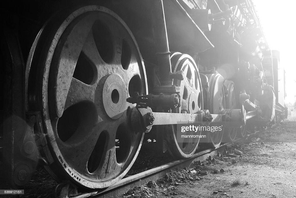 Wheels of a retro train. : Stock Photo