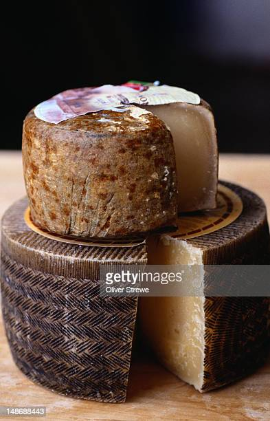 Wheels of cheese. Zamorano ( top ) and Manchego cheeses - Caceres, Extremadura