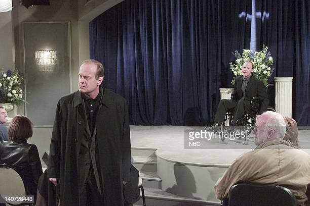 FRASIER 'Wheels of Fortune' Episode 16 Pictured Kelsey Grammer as Dr Frasier Crane Michael Keaton as Blaine Sternin Photo by NBCU Photo Bank