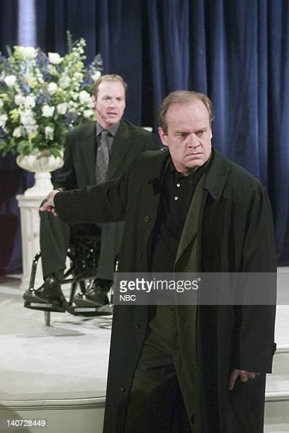 FRASIER 'Wheels of Fortune' Episode 16 Pictured Michael Keaton as Blaine Sternin Kelsey Grammer as Dr Frasier Crane Photo by NBCU Photo Bank