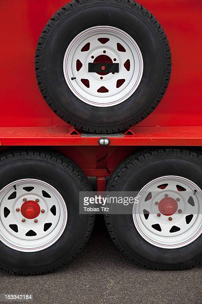 Wheels of lorry trailer