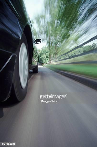 Wheels on a fast car