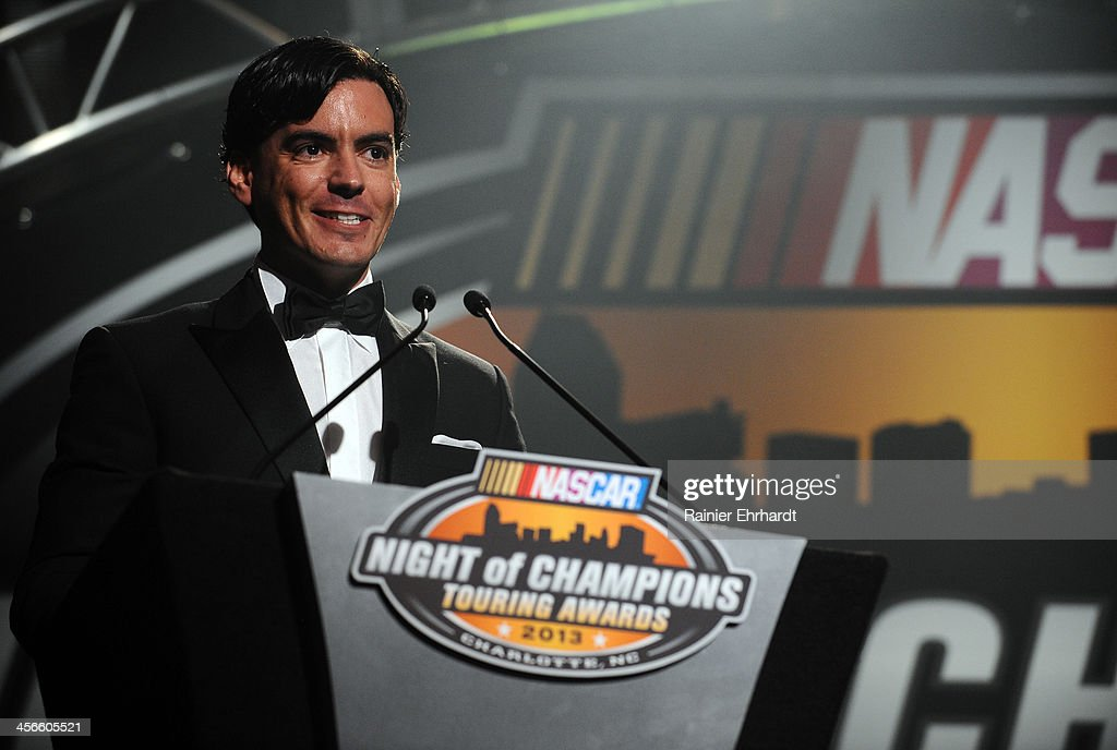 Whelen Euro Series champion Ander Vilarino speaks during the NASCAR Night of Champions at Charlotte Convention Center on December 14, 2013 in Charlotte, North Carolina.