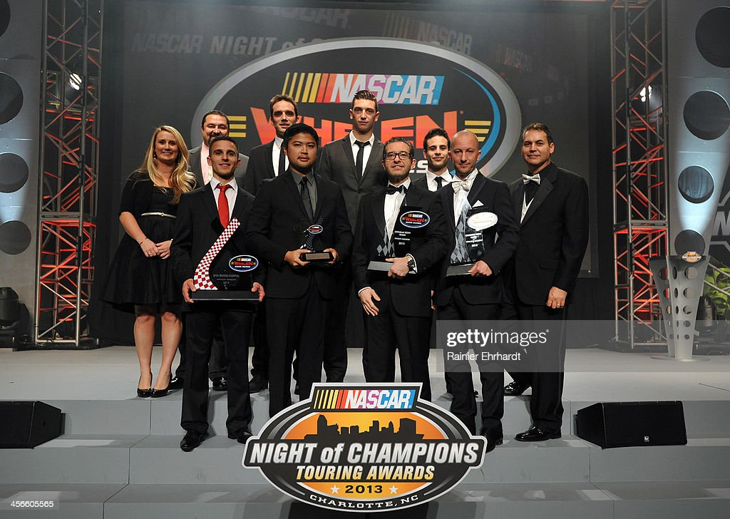 Whelen Euro Series second through tenth place finishers pose for a photograph during the NASCAR Night of Champions at Charlotte Convention Center on December 14, 2013 in Charlotte, North Carolina.
