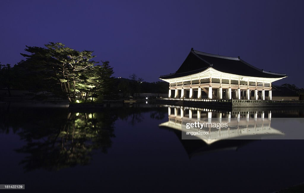 When sun goes out in Gyeonghoe Pavilion : Stock Photo