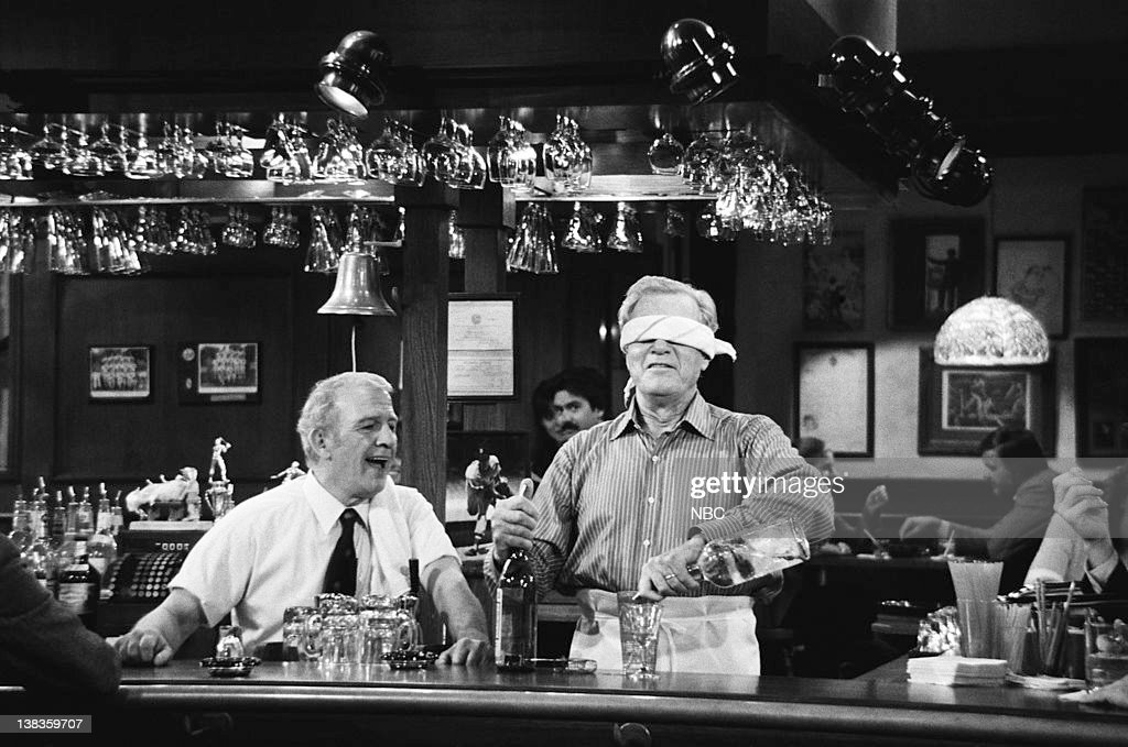 CHEERS -- 'Where There's a Will...' Episode 12 -- Air Date -- Pictured: (l-r) Nicholas Colasanto as Ernie 'Coach' Pantusso, George Gaynes as Malcolm Kramer