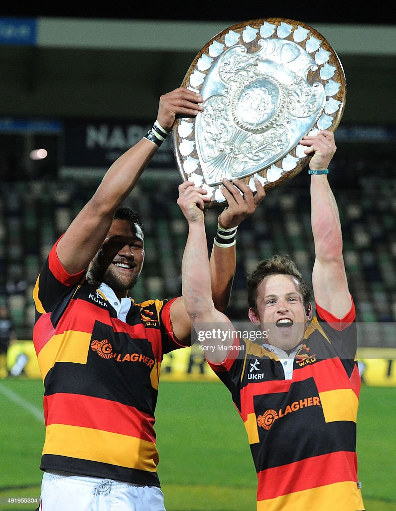 Whetu Douglas and Brad Weber of Waikato with the Ranfurly Shield following the round nine ITM Cup match between Hawke's Bay and Waikato on October 9...