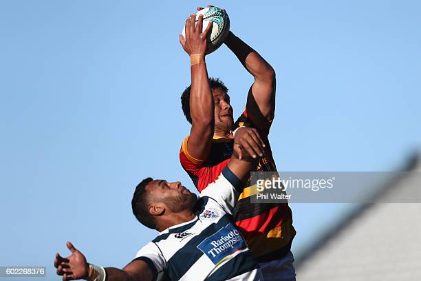 Whetu Douglas of Waikato takes the ball in the lineout over Patrick Tuipulotu of Auckland during the round four Mitre 10 Cup match between Auckland...