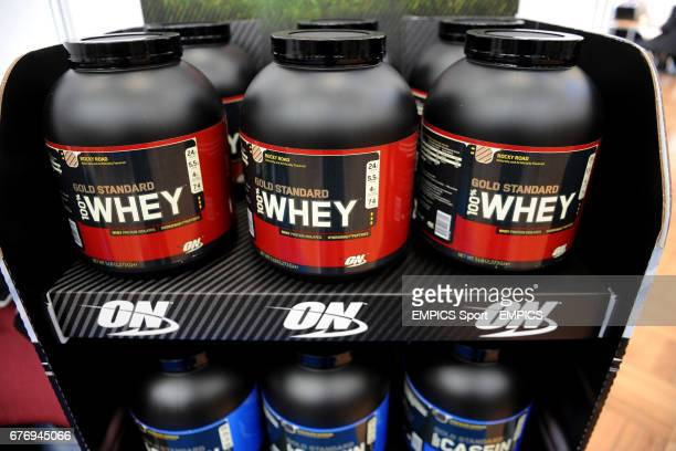 Whey Protein shakes on display on Day two of the Rugby Expo at the RHS Lawrence Hall Westminster