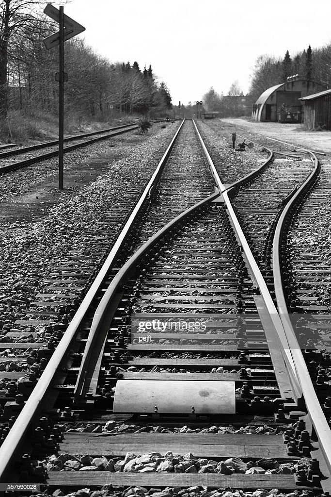 Which direction to take - railroad junction : Stock Photo