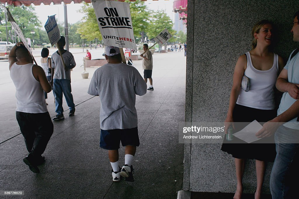 While America's senior union delegates debate the future of the AFLCIO at their convention two miles away in downtown Chicago a few strikers picket...
