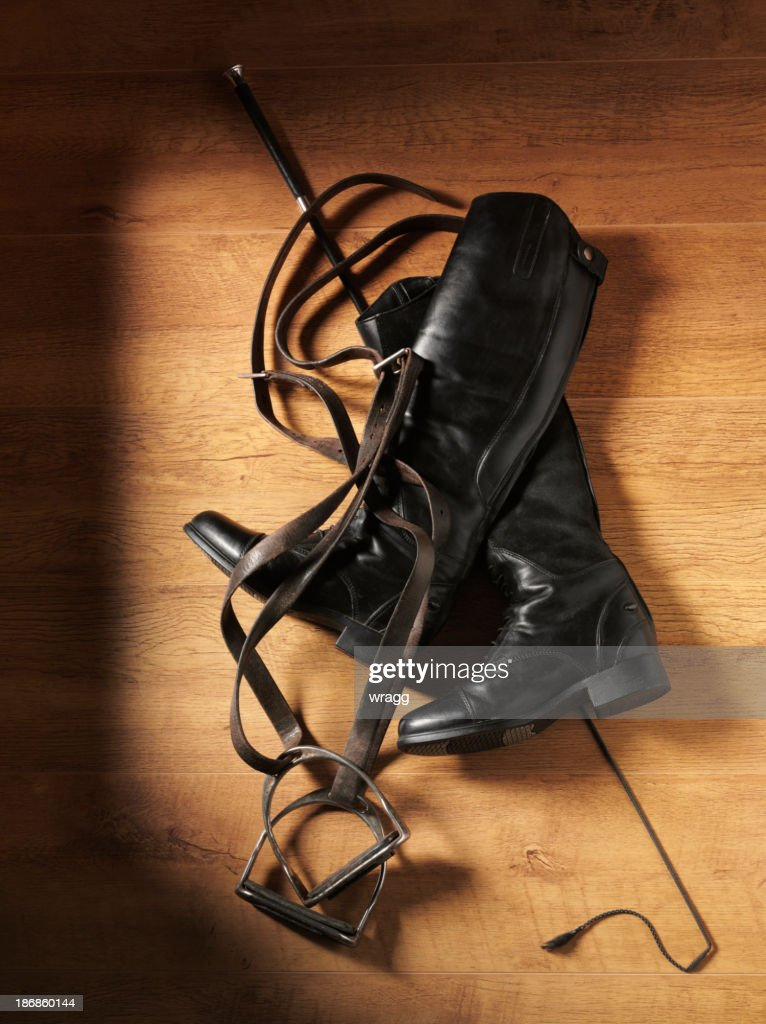 'Whip, Boots and Stirrups for Horse Riding'