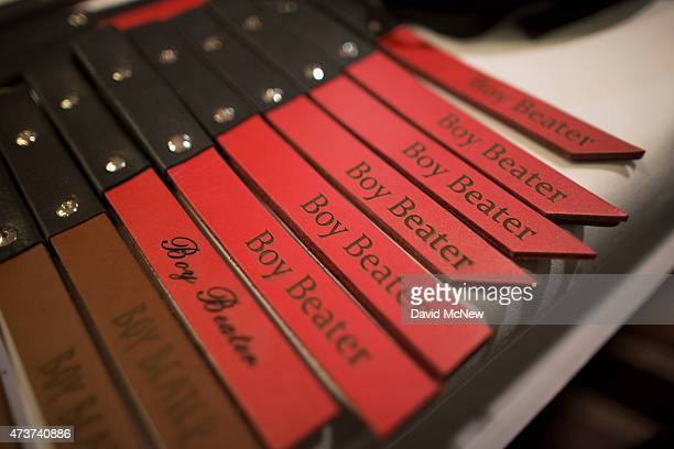 Whipping devices are displayed at the domination convention DomCon LA on May 16 2015 in Los Angeles California The annual convention which was...
