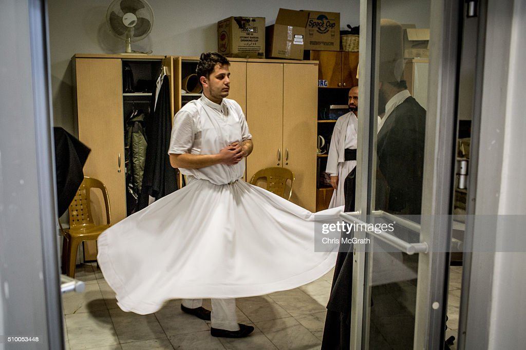 A Whirling Dervish practices turning backstage before taking part in a Sema ceremony on February 13, 2016 in Konya, Turkey. The Sema ceremony is performed by members of the Mevlevi Order or more famously known as Whirling Dervishes, due to the whirling performed during the ceremony. The Mevlevi order of dervishes was founded by Jalal ad-Din Muhammad Balkhi-Rumi. Rumi whose religion was love, was one of the worlds most read poets, after his death in 1273 the order was continued by his sons and grandsons. Today pilgrims come from across Turkey and overseas to visit Konya and the site of Rumi's tomb, one of Turkey's most visited tourist attractions. Despite the Mevlevi order being shut down and made illegal in 1925 by the new Turkey republic, today the whirling dervishes are the symbol of Turkey's tourism campaigns and in 2008 the Sema ceremony was confirmed by UNESCO as amongst the Masterpieces of the Oral and Intangible Heritage of Humanity.