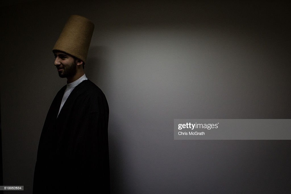 A Whirling Dervish waits backstage before performing a Sema ceremony on February 13, 2016 in Konya, Turkey. The Sema ceremony is performed by members of the Mevlevi Order or more famously known as Whirling Dervishes, due to the whirling performed during the ceremony. The Mevlevi order of dervishes was founded by Jalal ad-Din Muhammad Balkhi-Rumi. Rumi whose religion was love, was one of the worlds most read poets, after his death in 1273 the order was continued by his sons and grandsons. Today pilgrims come from across Turkey and overseas to visit Konya and the site of RumiÕs tomb, one of Turkey's most visited tourist attractions. Despite the Mevlevi order being shut down and made illegal in 1925 by the new Turkey republic, today the whirling dervishes are the symbol of Turkey's tourism campaigns and in 2008 the Sema ceremony was confirmed by UNESCO as amongst the Masterpieces of the Oral and Intangible Heritage of Humanity.
