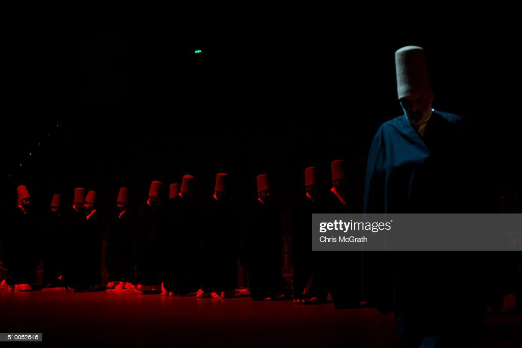 Whirling Dervishes are seen after finishing a Sema ceremony on February 13, 2016 in Konya, Turkey. The Sema ceremony is performed by members of the Mevlevi Order or more famously known as Whirling Dervishes, due to the whirling performed during the ceremony. The Mevlevi order of dervishes was founded by Jalal ad-Din Muhammad Balkhi-Rumi. Rumi whose religion was love, was one of the worlds most read poets, after his death in 1273 the order was continued by his sons and grandsons. Today pilgrims come from across Turkey and overseas to visit Konya and the site of RumiÕs tomb, one of Turkey's most visited tourist attractions. Despite the Mevlevi order being shut down and made illegal in 1925 by the new Turkey republic, today the whirling dervishes are the symbol of Turkey's tourism campaigns and in 2008 the Sema ceremony was confirmed by UNESCO as amongst the Masterpieces of the Oral and Intangible Heritage of Humanity.