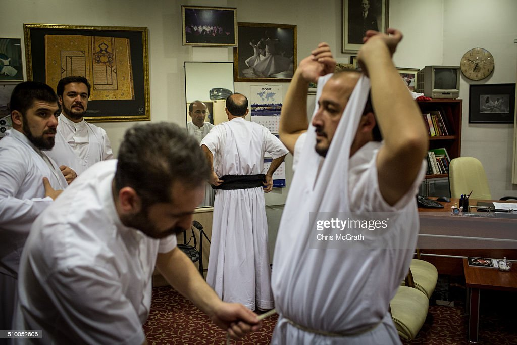 Whirling Dervishes get dressed ahead of performing a Sema ceremony on February 13, 2016 in Konya, Turkey. The Sema ceremony is performed by members of the Mevlevi Order or more famously known as Whirling Dervishes, due to the whirling performed during the ceremony. The Mevlevi order of dervishes was founded by Jalal ad-Din Muhammad Balkhi-Rumi. Rumi whose religion was love, was one of the worlds most read poets, after his death in 1273 the order was continued by his sons and grandsons. Today pilgrims come from across Turkey and overseas to visit Konya and the site of RumiÕs tomb, one of Turkey's most visited tourist attractions. Despite the Mevlevi order being shut down and made illegal in 1925 by the new Turkey republic, today the whirling dervishes are the symbol of Turkey's tourism campaigns and in 2008 the Sema ceremony was confirmed by UNESCO as amongst the Masterpieces of the Oral and Intangible Heritage of Humanity.