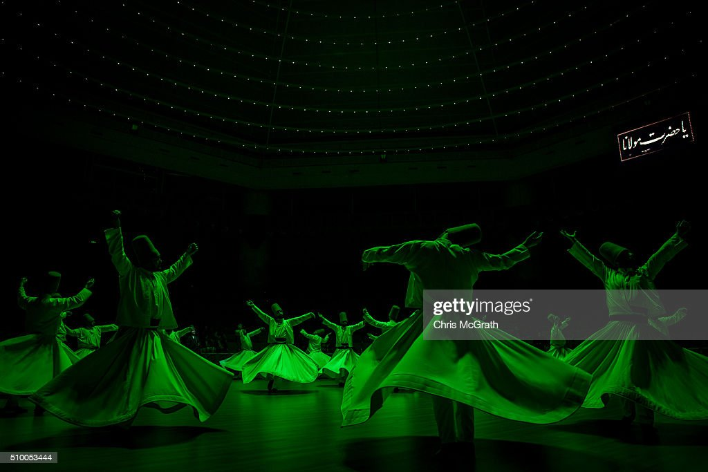 Whirling Dervishes perform a Sema ceremony on February 13, 2016 in Konya, Turkey. The Sema ceremony is performed by members of the Mevlevi Order or more famously known as Whirling Dervishes, due to the whirling performed during the ceremony. The Mevlevi order of dervishes was founded by Jalal ad-Din Muhammad Balkhi-Rumi. Rumi whose religion was love, was one of the worlds most read poets, after his death in 1273 the order was continued by his sons and grandsons. Today pilgrims come from across Turkey and overseas to visit Konya and the site of Rumi's tomb, one of Turkey's most visited tourist attractions. Despite the Mevlevi order being shut down and made illegal in 1925 by the new Turkey republic, today the whirling dervishes are the symbol of Turkey's tourism campaigns and in 2008 the Sema ceremony was confirmed by UNESCO as amongst the Masterpieces of the Oral and Intangible Heritage of Humanity.