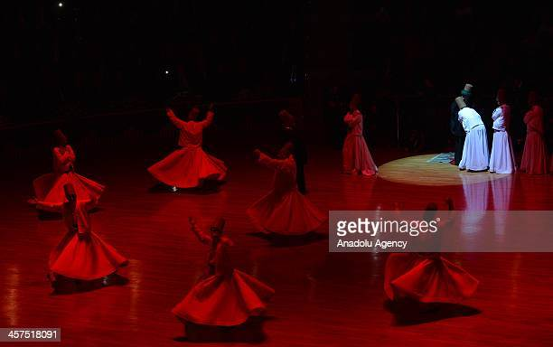 Whirling dervishes perform during the 740th anniversary of Mevlana Muhammad Jelaluddin Rumis passing known as Sebi Arus' in Konya on December 17 2013...