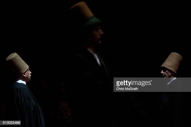 Whirling Dervishes prepare to perform a Sema ceremony on February 13 2016 in Konya Turkey The Sema ceremony is performed by members of the Mevlevi...