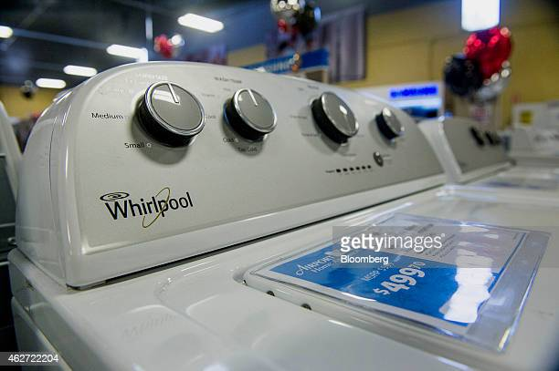 Whirlpool Corp washing machines are displayed for sale at the Airport Home Appliance store in Concord California US on Tuesday Feb 3 2015 Whirlpool...