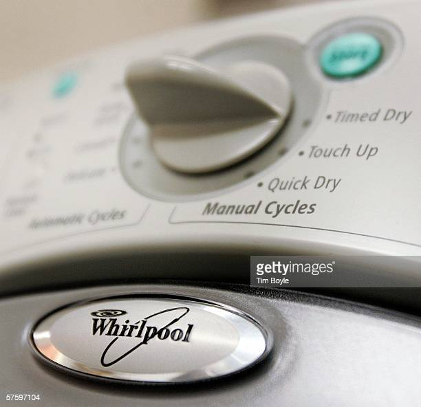 Whirlpool logo is seen on a dryer at a Sears store May 12 2006 in Niles Illinois Whirlpool reportedly may be closing three Maytag manufacturing...