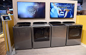 Whirlpool's new Smart Top Load washer and dryer are displayed at the 2015 International CES at the Sands Expo and Convention Center on January 6 2015...