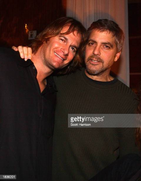 Whiskey Bar owner Rande Gerber and actor George Clooney attend the one year anniversary of the Whiskey Bar March 7 2003 in Las Vegas Nevada Gerber...