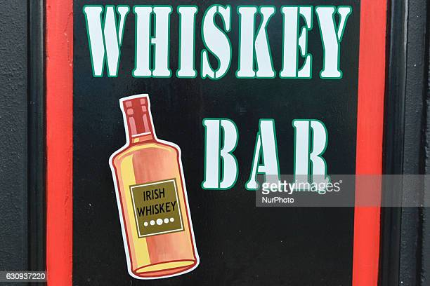 'Whiskey Bar' sign outside Lowry's Pub in Clifden Connemara On Tuesday 3 January 2017 in Clifden Connemara County Galway Ireland
