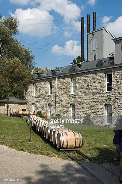Whiskey Barrels Outside a Distillery in Summer