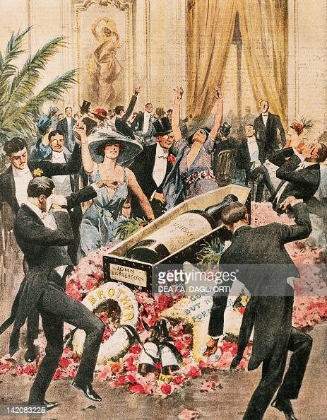 Whiskey bottle funeral performed to mark the beginning of prohibition in America Illustrator Achille Beltrame from La Domenica del Corriere 1919