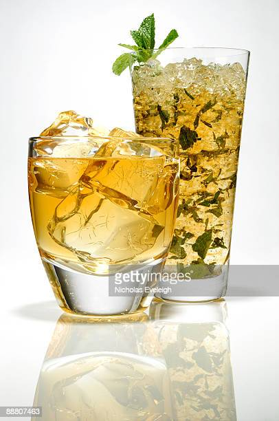 Whiskey glass and mint julep